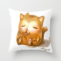 my mad fat diary Throw Pillows featuring Fat Cat by Cat in the Box