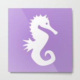 Seahorse (White & Lavender) Metal Print