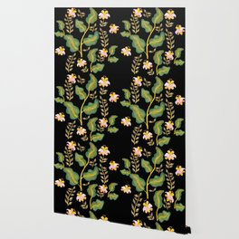 Tropical flowers and banana leaves // Green Pink Yellow Black Palette Wallpaper