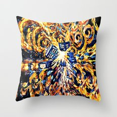 Exploded with Flame Blue phone Box iPhone 4 4s 5 5c 6, pillow case, mugs and tshirt Throw Pillow