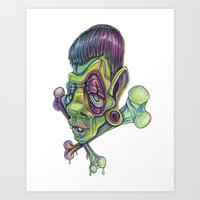 frank Art Prints featuring Frank by Kikillustration