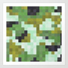 Pixelated Greens Art Print