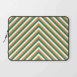 Orange White and Green Irish Chevron Stripe Laptop Sleeve