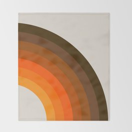 Retro Golden Rainbow - Right Side Throw Blanket