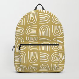 Handdrawn Rainbows in Mustard Yellow Backpack