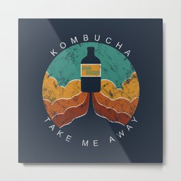 "KOMBUCHA ""Take Me Away"" Rocket // Mushroom Tea Graphic Design Scoby Health Drink Bubble Scooby Metal Print"
