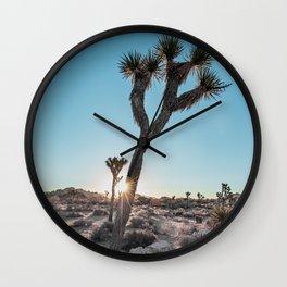 Cool Joshua Tree Sunrise (teal and grey) Wall Clock