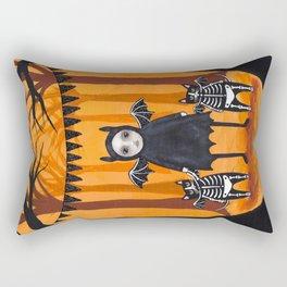 Skellie Girl and Bat Cats Rectangular Pillow