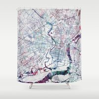 philadelphia Shower Curtains featuring Philadelphia map by MapMapMaps.Watercolors
