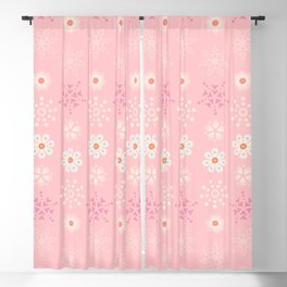 Delicate little flowers and stars on soft pastel pink Blackout Curtain