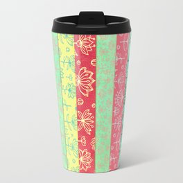 Lily & Lotus Layers in Mint Green, Coral & Buttercup Yellow Travel Mug