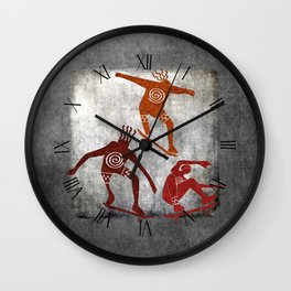Skateboard Petroglyph Wall Clock