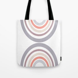 Modern Double Rainbow Hourglass in Muted Earth Tones Tote Bag