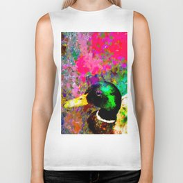 mallard duck with pink green brown purple yellow painting abstract background Biker Tank