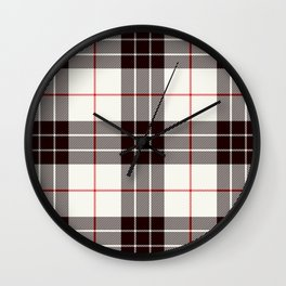 White Tartan with Black and Red Stripes Wall Clock