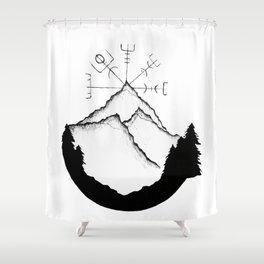 Mountain Compass Shower Curtain