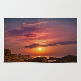"Magical landscape with clouds and the moon going up in the sky in ""La Costa Brava, Spain"" Rug"