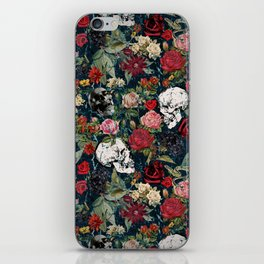Distressed Floral with Skulls Pattern iPhone Skin