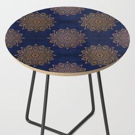 N253 - Indigo Royal Blue Heritage Oriental Moroccan Golden Floral Artwork Side Table