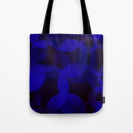Abstract soap of blue molecules and bubbles on a dark marine background. Tote Bag