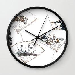 Mutamagawa senmen harimaze Hokusai Katsushika Ukiyo-E Japanese Wall Clock