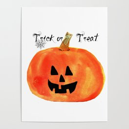 Trick or Treat Jack-O-Lantern, Halloween Pumpkin Poster