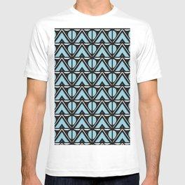 Art Deco Aqua Mountains, minimal abstract geometric, blue black white T-shirt