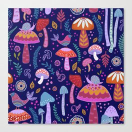 Magical Mushrooms on navy Canvas Print