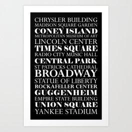 New York City - Landmarks Art Print