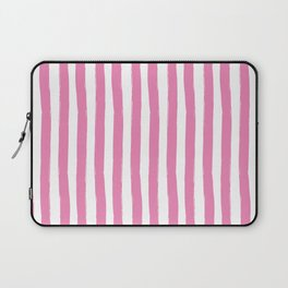 Pink and White Cabana Stripes Palm Beach Preppy Laptop Sleeve