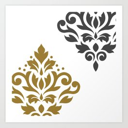 Scroll Damask Art I Gold & Grey on White Art Print