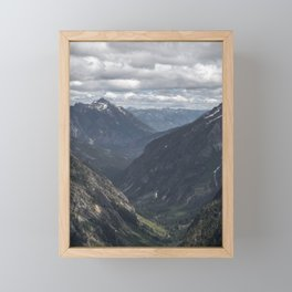 AERIAL PHOTOGRAPHY OF VALLEY AND MOUNTAIN UNDER WHITE CLOUDS DURING DAYTIME Framed Mini Art Print