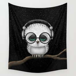 Cute Baby Owl Dj with Headphones and Glasses Wall Tapestry