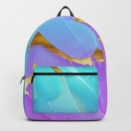 Bird of Paradise Feathers Teal Purple Gold Backpack