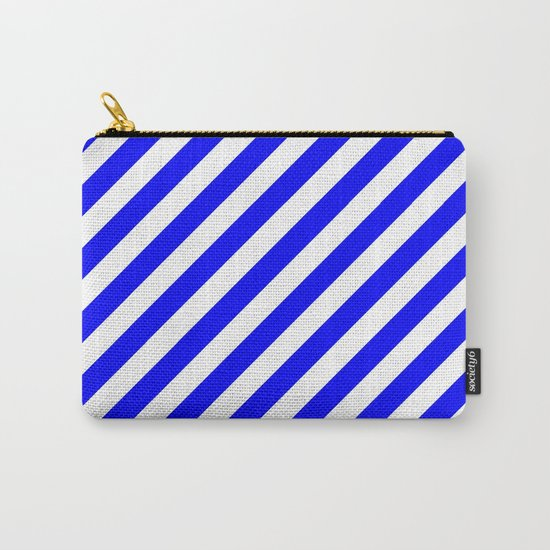 Diagonal Stripes (Blue/White) Carry-All Pouch