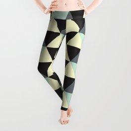 Geometric Pattern 174 (Cream Black Triangles) Leggings