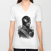 wrestling V-neck T-shirts featuring Wrestling mask 2 by DIVIDUS