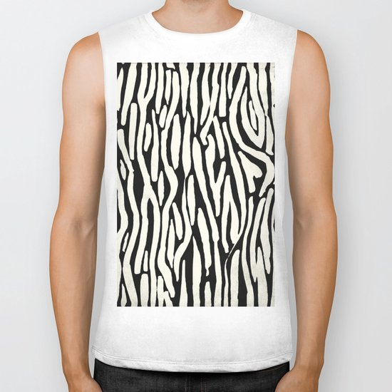 Zebra Stripes Tribal Black and Cream Biker Tank