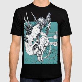 Futurist Cyberpunk Cyborg Girl  T-shirt