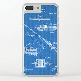 Fishing Rod Patent - Fishing Art - Blueprint Clear iPhone Case