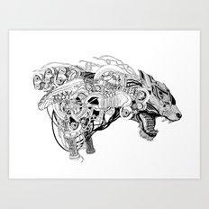 Roaring beast Art Print