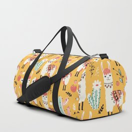White Llama with flowers Duffle Bag