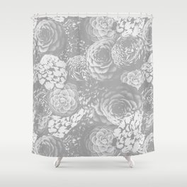 Moody Florals in Grey Shower Curtain