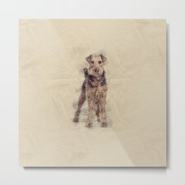 Airedale Terrier sketch Metal Print