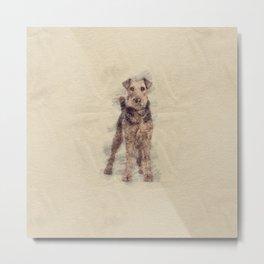 Airedale Terrier sketch Metal Print