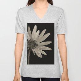 Black And White Sunflower Unisex V-Neck