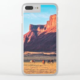 Horses with Desert Vista in Morning Light, Vintage Clear iPhone Case