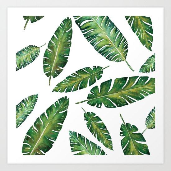 Decorative Watercolor Tropical Leaves Pattern Art Print