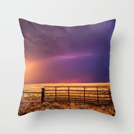 Western Front - Colorful Stormy Sky in Oklahoma Throw Pillow