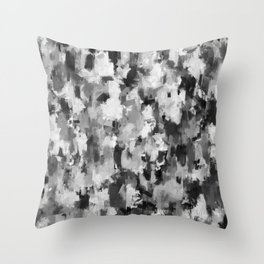 black and white pattern - paint brush design Throw Pillow